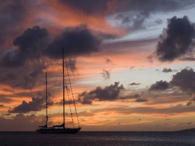 "Silhouette of Sy ""Adele"", 180 Foot Hoek Design, Moored Off Saint Kitts at Sunset. 2006"