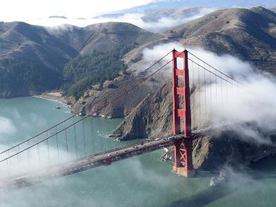 Low Clouds Clearing around the Golden Gate Bridge, San Francisco Bay, California