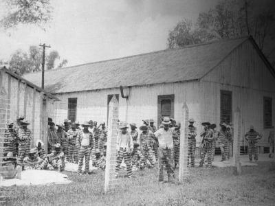 Prison Compound No. 1, Angola, Louisiana, Leadbelly in Foregound