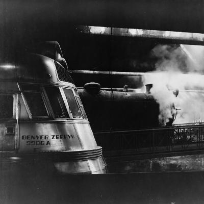 Steam and Diesel Engine at the Union Station, Chicago, c.1943