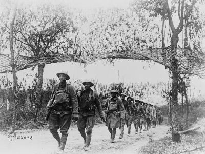 U.S. Army Infantry Troops Marching Northwest of Verdun, France, in World War I, 1918