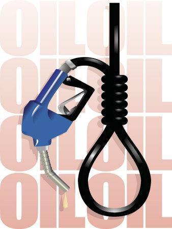 Gas Pump Nozzle and Hose Tied in Noose
