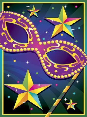 Masquerade Mask and Stars for Mardi Gras