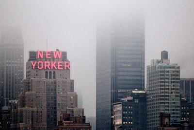 New Yorker Building in Fog NYC