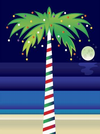 Palm Tree Decorated with Christmas Lights