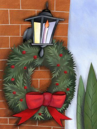 Christmas Wreath on Brick Wall