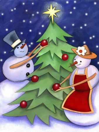 Snowman and Snowwoman Decorating Christmas Tree