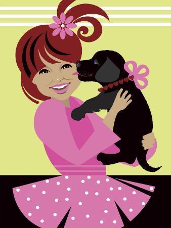 Girl Holding Pet Dog