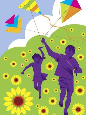 Boy and Girl Running with Kites in Country Field