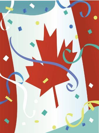 Confetti Floating by Canadian Flag on Canada Day