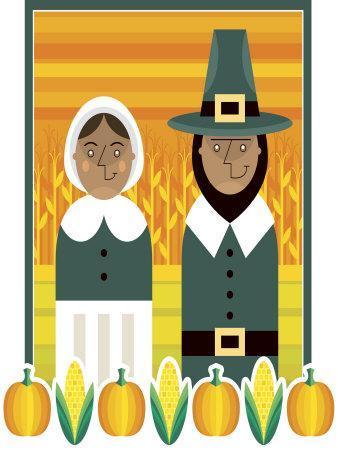 Stylized Portrait of Pilgrim Couple