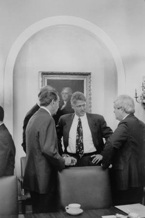 President Bill Clinton Meet with Republican Congressional Leaders in 1993