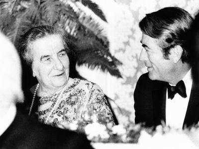 Golda Meir, Prime Minister of Israel Dines with Actor Gregory Peck, Oct