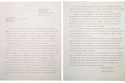 Physicist Albert Einstein's Letter to President Franklin Roosevelt, Aug. 2, 1939