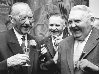 West German Chancellor Konrad Adenauer (Left), and Chancellor Designate Ludwig Erhard