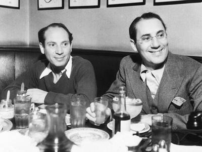 Chico (Left) and Groucho Marx at Lunch in the Famous Brown Derby Restaurant in Hollywood