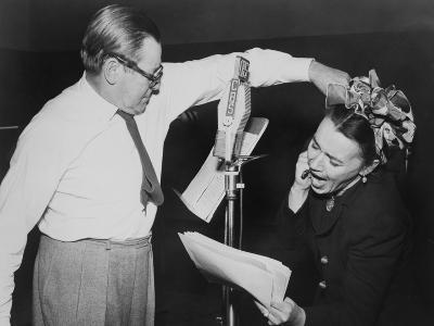Herbert Marshall Striking a Blow, Murdering His 'Wife', in a Radio Play, 'Back for the Holidays'