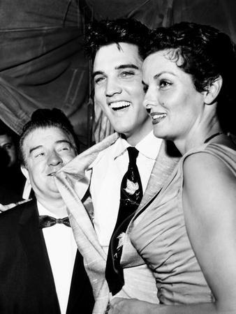 Lou Costello, Elvis Presley, Jane Russell, at a Benefit for St. Jude's Hospital, June 28, 1957