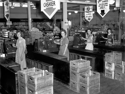 Four Cash Registers at a New Supermarket, Tulip Town Market, 1945 in Oak Ridge, Tennessee