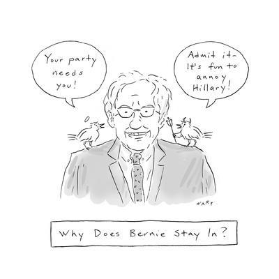 Why Does Bernie Stay In? - Cartoon