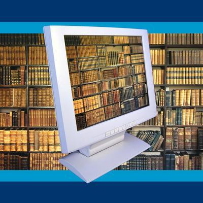 Images of Book Shelves on Computer Screen