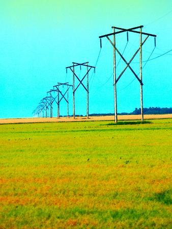 Power Lines Stretching Across Green and Red Field