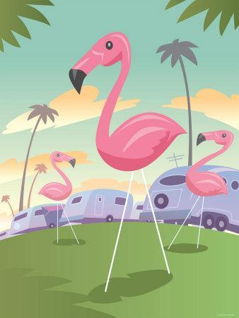 Classic Pink Flamingo Lawn Ornaments in Tropical Campground