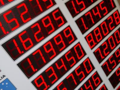 Red Digital Numbers of Electronic Exchange Rate Board
