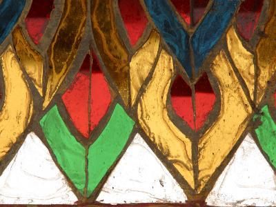 Close-up of an Intricate Colorful Stained Glass Window