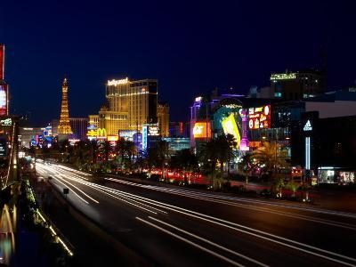 View of Casinos and the Strip at Night in Las Vegas, Nevada