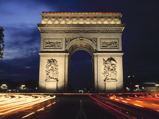 arc de triomphe at night photographic print at allposters com
