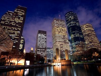 River Along Downtown Houston, Texas with High-Rise Buildings and Skyscrapers