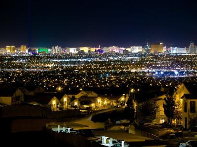 View of Neighborhood with Las Vegas, Nevada Skyline in Distance