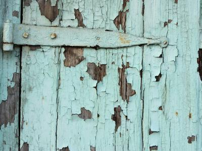 Close-Up of Weathered Metal Door Hinge with Paint Peeling in New Orleans, Louisiana