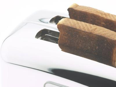 Slices of Toast in Stainless Steel Toaster
