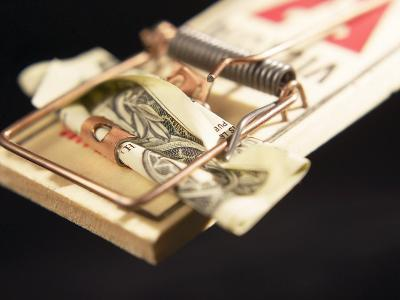 American Dollar Bill Used as Bait in Wooden Mousetrap