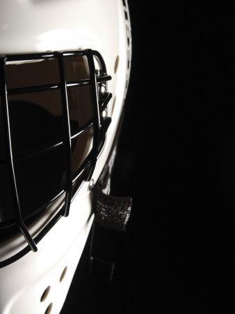Cropped Studio Shot of Black and White Hockey Goalie's Mask
