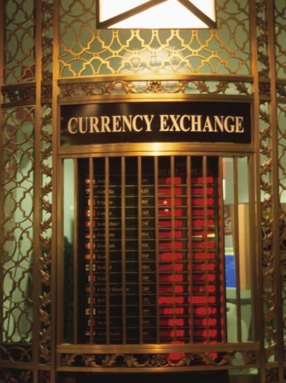 Foriegn Currency Exchange Window Showing Rates New York City America
