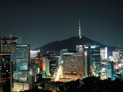 Buildings Illuminated by Lights at Night in Seoul, Korea