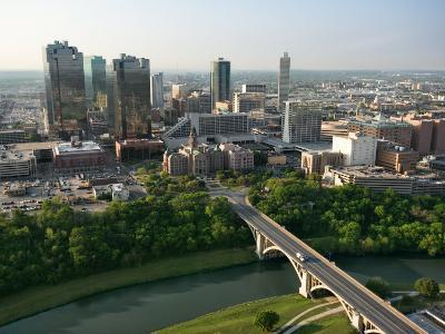 Aerial View of Buildings and High Rises in Downtown Fort Worth, Texas