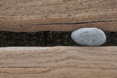 Groynes, abstract view of pebble stuck in weathered timber, West Runton, Norfolk