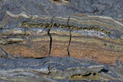 Pahoehoe lava, close-up of ribbon-like shapes, Sullivan Bay, Santiago
