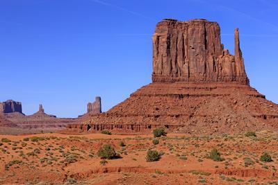 View of sandstone buttes in high desert habitat, West Mitten, Monument Valley, Navajo Tribal Park