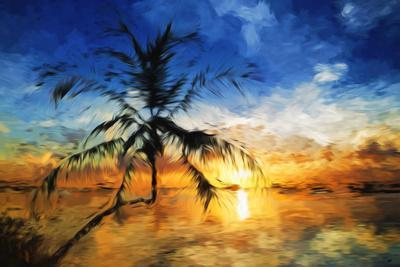 Sunset Palm II - In the Style of Oil Painting