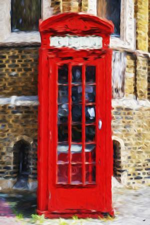 Red Phone Booth - In the Style of Oil Painting
