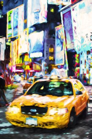 Yellow Taxi - In the Style of Oil Painting