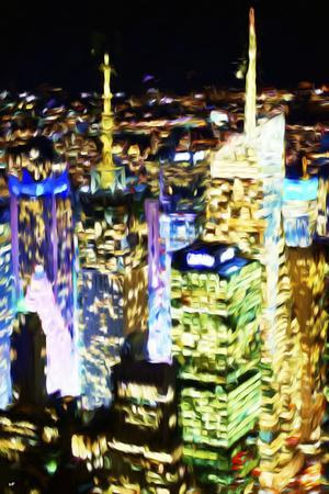 City Lit Up - In the Style of Oil Painting