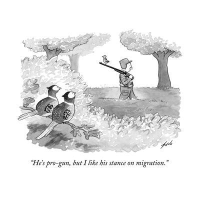 """He's pro-gun, but I like his stance on migration."" - New Yorker Cartoon"