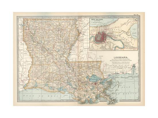United States Map New Orleans.Map Of Louisiana United States Inset Map Of New Orleans And