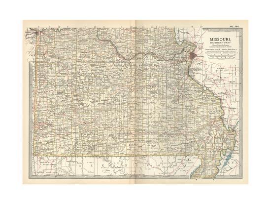 Map of Missouri, Southern Part. United States Giclee Print by ...